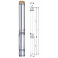 насос aquatica 3sem1.8/10 центробежный погружной 0.25квт 42м 45л/мин ø75мм+25м кабеля Dongyin